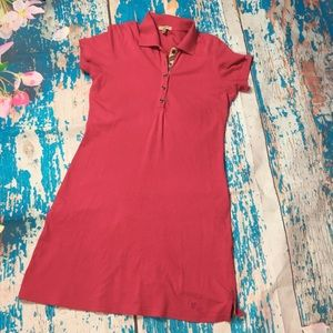 Burberry Brit pink polo shirt dress nova check med